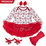 Baby Girls Christmas Tutu Romper Dress Headband 4PCS Party Outfits Set (XL, Snowflakes)