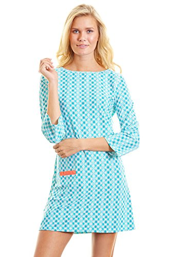 Cabana Life Women's Coral Seas Long Sleeve Dress Swim Cover Up Coral Seas L