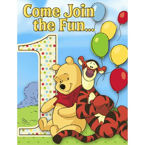 Winnie the Pooh and Pals Boy or Girl 1st Birthday Invitations w/ Envelopes ()