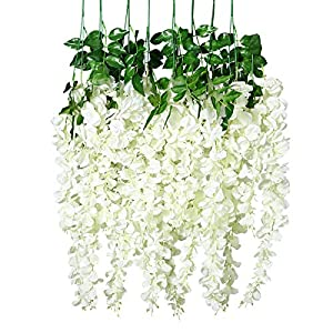 Unomor 12 PCS Wisteria Artificial Flowers Fake Hanging Flowers Vine Garland for Wedding Decorations - 3.25 Feet 82