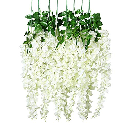 Unomor 12 PCS Wisteria Artificial Flowers Fake Hanging Flowers Vine Garland for Wedding Decorations - 3.25 Feet