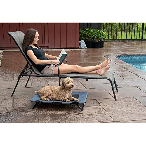 "Pet Gear Lifestyle Pet Cot Elevated Bed | No Assembly Required | Premium Tear Resistant Cooling Mesh | Indoor & Outdoor | Lightweight & Portable, 30"", Lake Blue"
