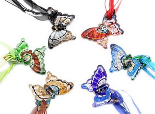 Murano Butterfly Shaped Silver Foil Glass pendant Necklce 6pc Mix Color Set