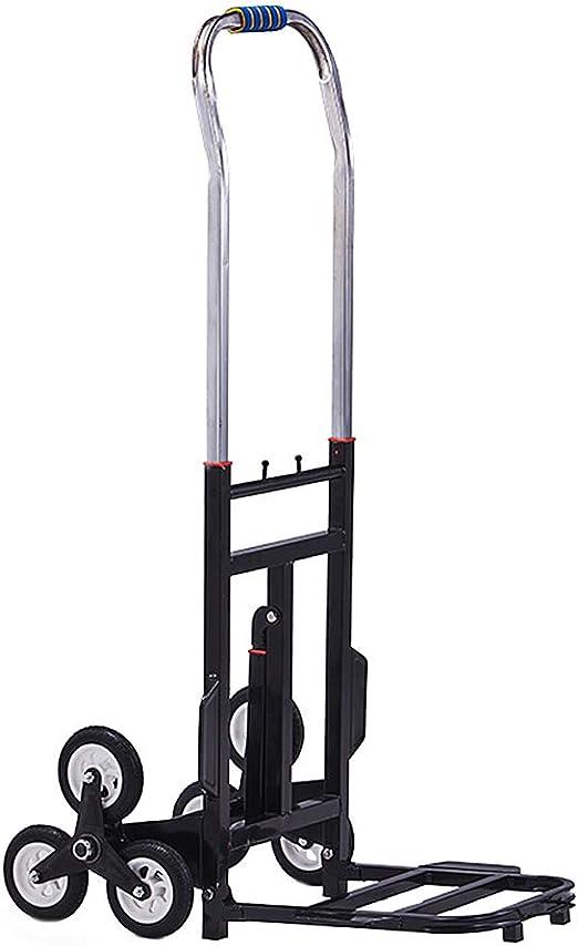 Escalera plegable portátil de la escalera de la carretilla de la mano, 6 ruedas de goma mudas Camión manual de alta resistencia, carro de ultramarinos del hogar de la utilidad del hierro: