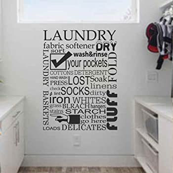 Laundry Room Wall Decal Quote Subway Art Decal Home Decor Laundry Vinyl  Sticker (Black, Part 89