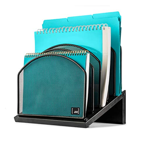 - Inclined File Organizer by Mindspace, 5 Section Office Desktop Document Sorter | Desk File Holder | The Mesh Collection, Black