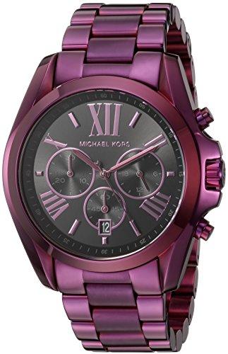 Michael Kors Women's 'Bradshaw' Quartz Stainless Steel Casual Watch, Color:Purple (Model: - Purple Michael Kors