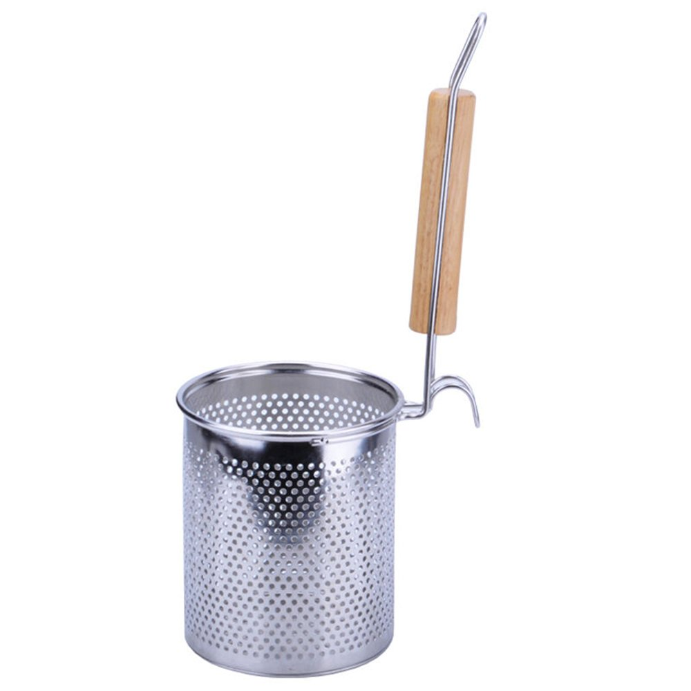 MyLifeUNIT Spaghetti Strainer Spoon, Stainless Steel Food Strainer Noodle Strainer with Handle