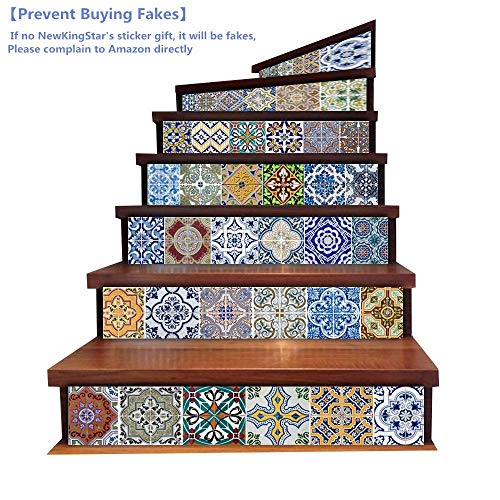 Vintage Tile Stickers Tile Decals for Kitchen Walls Peel and Stick Bathroom Tile Stickers Decals Waterproof Decorative Stair Riser Decals Vinyl Stair Decals Stair Stickers Removable 7''x 39''x6PCS