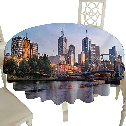 Flyerer City Fabric Tablecloth Early Morning Scenery in Melbourne Australia Famous Yarra River Scenic Outdoors Round Tablecloth Diameter 54