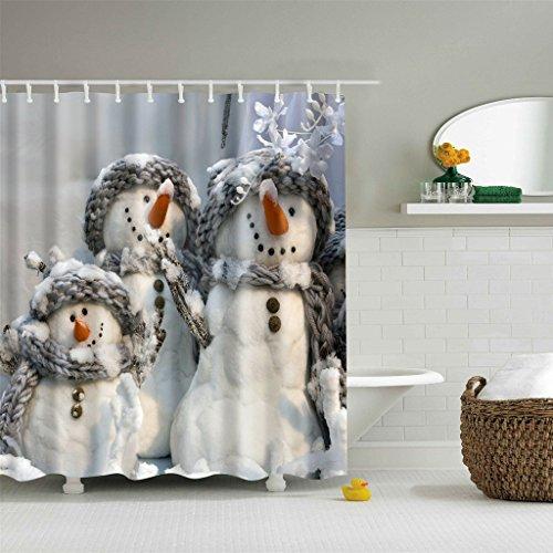 BetterM 3 Snowmen Shower Curtain with 12 Hooks
