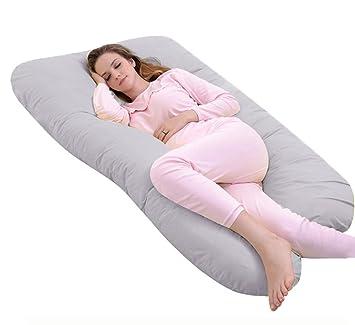 ANG Qi Premium Forma de U Confortable Almohada de Embarazo Maternidad Almohada para Dormir de Lado para el Cultivo de Barriga Apoyo – con Cremallera ...