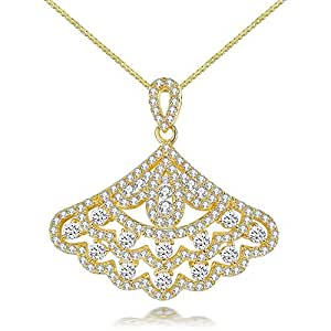 Qings Fan-Shaped Pendant Necklace Gold Plated Fashion Necklace for Women and Girls all Ages