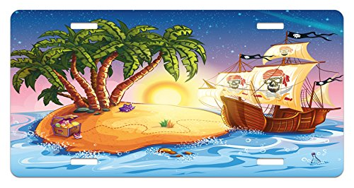 (Ambesonne Pirate Ship License Plate, Ghost Ship on Exotic Sea Near Treasure Island with Palm Trees and Open Chest, High Gloss Aluminum Novelty Plate, 5.88 L X 11.88 W Inches, Multicolor)