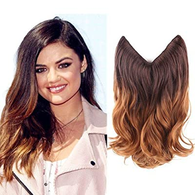 "Creamily 14""/20"" Ombre Dip Dye Synthetic Hair Extension Secret Miracle Heat Resistance Hair Wire Hairpieces No Clip for Women"