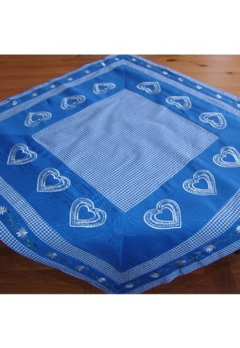 Tablecloth - blue-white chequered and embroidery ''edelweiß'' 85/85cm