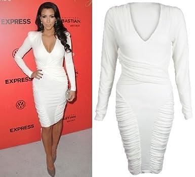 69ab5b2990 Celebrity Low V Neck Long Sleeve Ruched Detail Midi Dress UK 14:  Amazon.co.uk: Clothing