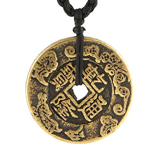 HZMAN Brass Talisman Chinese Feng Shui Coins Pendant Necklaces for Wealth and Success (Chien - Lung)
