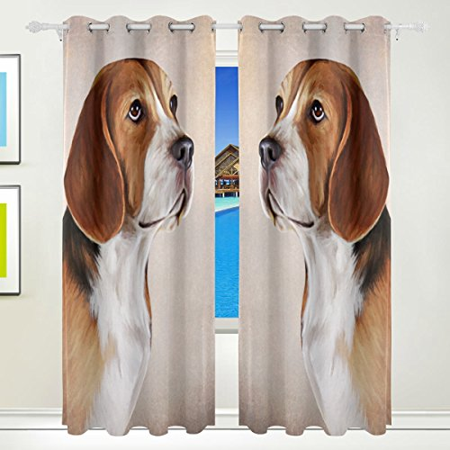 Top Carpenter Dog Beagle Portrait Thermal Insulated Blackout Grommet Printed Window Curtain - 84x55 in - 100% Polyester 2 Panels for Living Room Home Decoration, Symmetry -  DecocurtainEE-0306-09