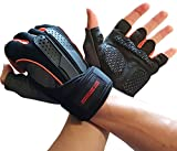 Workout Exercise Gloves for Gym Weightlifting & Crossfit Training - Bodybuilding Gloves for Men & Women W. Wrist Strap Support - Breathable Comfort Workout Gloves for Physical Fitness (Orange, Large)
