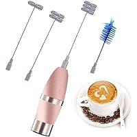 Milchaufschäumer Elektrisch, Qcool Handheld Milchschäumer Batteriebetrieben Edelstahl mit 3 Quirl und Bürste