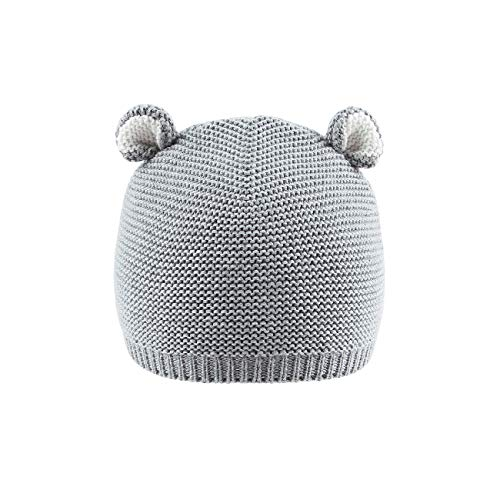 LLmoway Kids Knit Hat Beanie Baby Boy Infant Girl Crochet Skull Cap with Ear, Grey, 1-Ply, 0-12M (Crochet Hat Beanie Cap)
