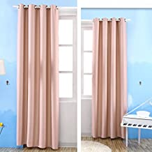 Kinlo Blackout Curtains Grommet Room Darkening Window Curtain Triple Weave Thermal Insulated Drapes 57x96 Inch 1-Panel, Pink