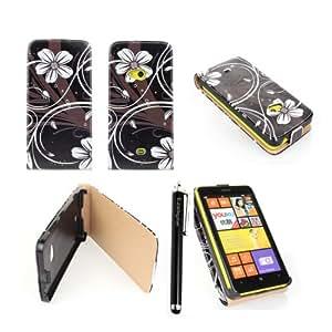 Ezydigital Nokia Lumia 625 Premium Faux Leather Case with Floral Interior