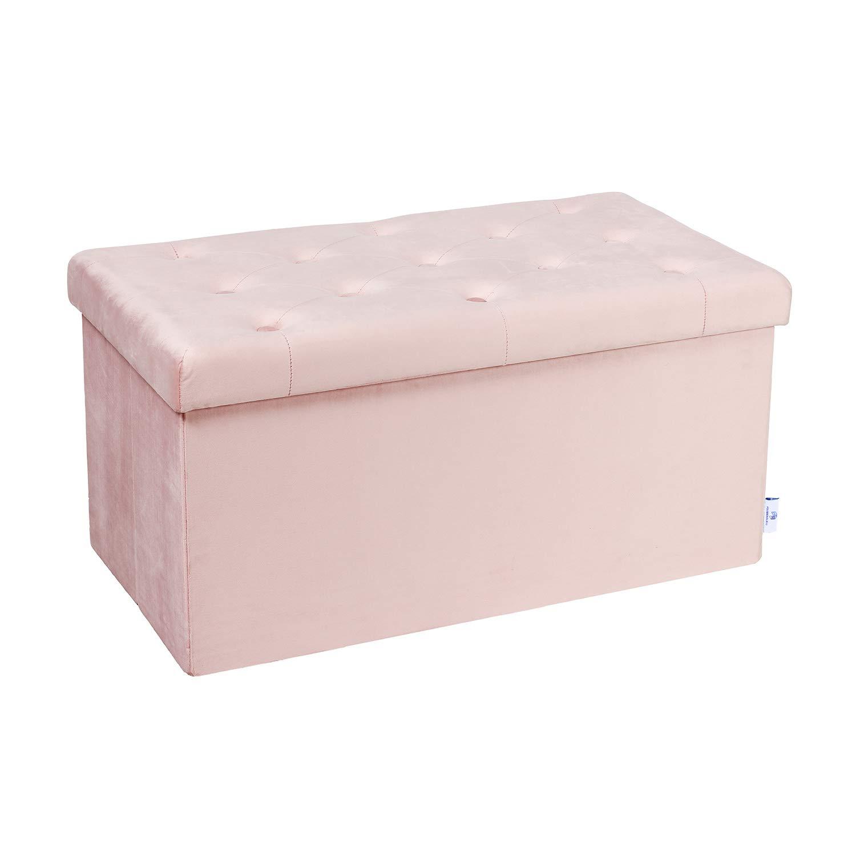 B FSOBEIIALAO Folding Storage Ottoman, Long Shoes Bench, Flannelette Footrest Stool Seat 31.5''x15.7''x15.7'' (Pink, Large) by B FSOBEIIALEO