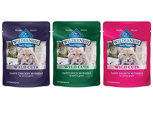 12 pack Blue Buffalo Wilderness for Cats Grain Free Pouches – 4 Pouches each of 3 Proteins – Duck, Chicken, and Salmon