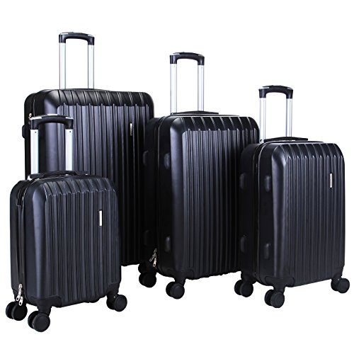 BEST TRAVEL 4 Piece ABS Trolley Luggage Travel Set Bag Suitcase Black 16'' 20'' 24'' 28'' by BEST TRAVEL