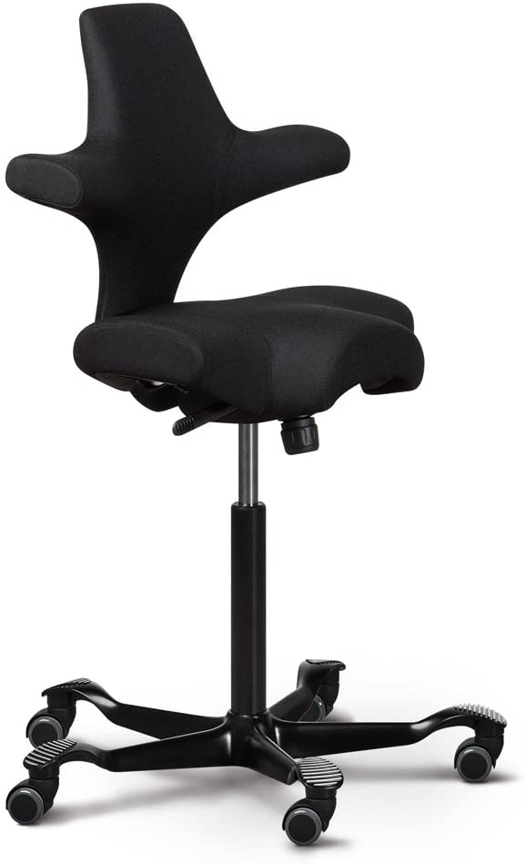 Capisco Ergonomic Office Chair with Saddle Seat - Standing Desk Height (Capisco, Black Eco Polyester with Black Base)