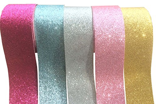 [longshine-us Solid Color Sparkle Glitter PU Fabric Curling Ribbon 5 Colors 1.5?X 5.5 Yard Each Total 27Yds Per Package Hair Bowknot Ribbon Handcraft DIY Accessories] (Valentine Sparkle)