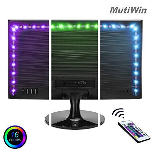 Mutiwin Bias Lighting for TV with Color - Medium - USB-Powered RGB LED Strip with Remote Control, 16 Colors, Dimmer - Adhesive Light Rope for HDTV, Desktop Monitors
