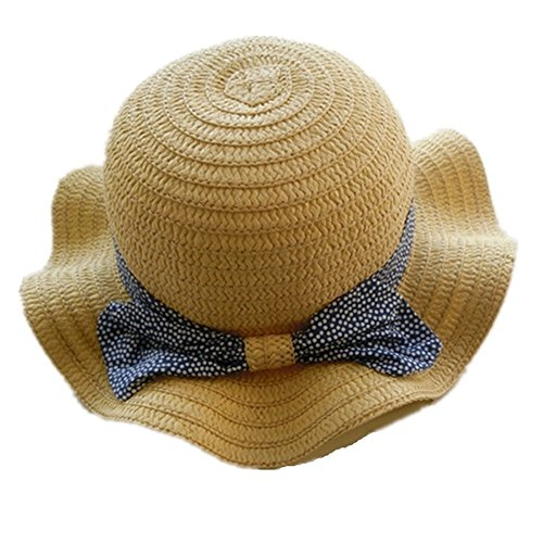 (Spring/Summer Cotton Baby Girls 's Outdoor Bowknot Sun Hat/Beach Hat (20.1 in(51 cm)/2-4 Years Old, Straw hat) )