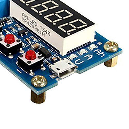 WOVELOT Capacidad de la Bater/ía T Medidor Probador de Descarga 18650 Li-Ion Litio Plomo-S Horas 1.2-12V Azul