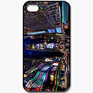 Protective Case Back Cover For iPhone 4 4S Case New York Times Square Street Night Home Black
