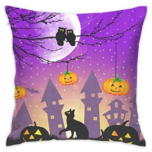 (Lovexue Throw Pillows Covers Halloween Pumpkin Owl Black Cat Pillow Case Sofa Cushion Pillowcases Decorative 18 X 18)