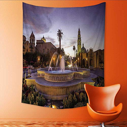 (Auraisehome Wall Hanging Tapestries san Diego Balboa Park at Twilight in san Diego California USA Large tablecloths 54W x 84L)