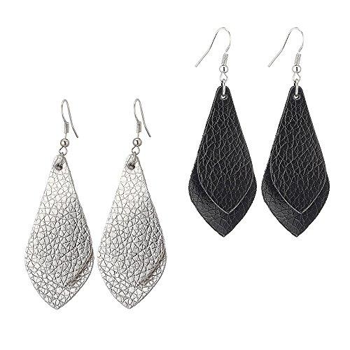 SEVENSTONE 2 Pcs Petal Leather Earrings Teardrop Leaf Drop Lightweight Antique Fashion Earrings
