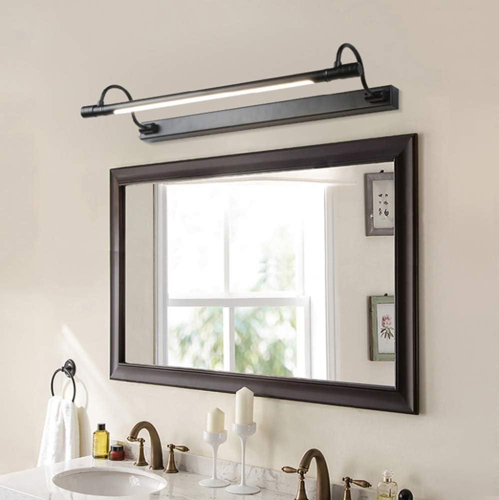 Luz de espejo LED Apliques de pared Lámpara de pared de baño retro americana Luz de gabinete de espejo de baño simple Pantalla de acrílico de acero inoxidable 10w, negro, luz cálida54x18cm 10s