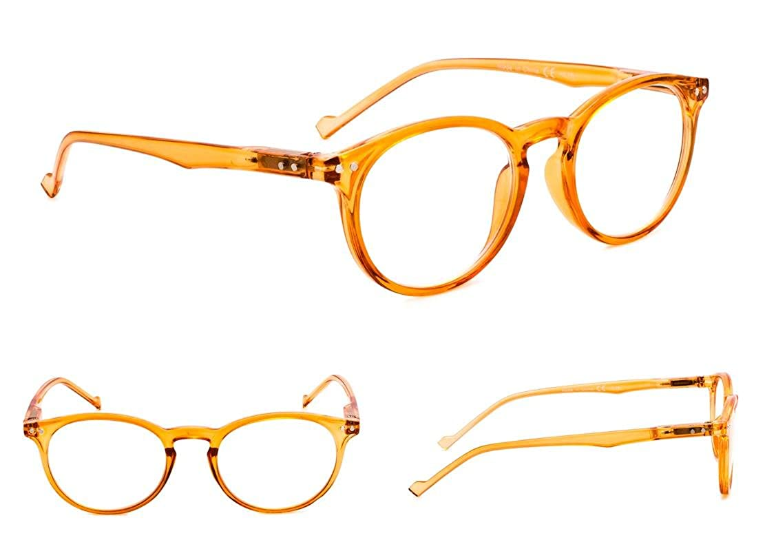 5-Pack Oval Round Reading Glasses with Spring Hinges Includes ...