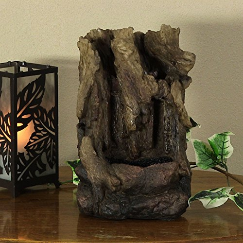 Sunnydaze Hollowed Log Tabletop Water Fountain with LED Lights, 11.5 Inch Tall