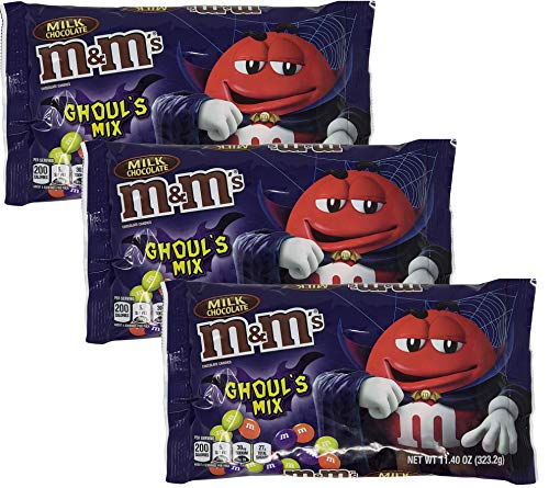 M&M Ghouls Mix Halloween Candy Assortment Variety - Spooky Colors Milk Chocolate, Peanut, Cookies and Screeem - Scary Fun Seasonal MM Candies (3 Bags Total) - 11.4 oz (Ghouls Milk Chocolate) ()