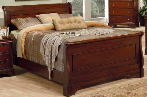 California King Mahogany Sleigh Bed - Coaster B1 = Headboard + Footboard, Box 1 Of 2-Deep Mahogany