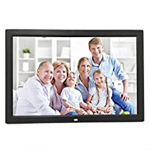Morrivoe Ultra-thin 15 inch TFT LED HD Widescreen Digital Photo Frame Electronic Photo Album with Remote Control,Clock/Calendar Display,USB/SD Input,Black-Prime Gifts