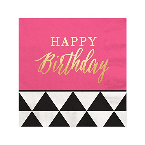 Chic Happy Birthday - Pink, Black with Gold Foil - Beverage Napkins (16 (16 Count Beverage Napkins)