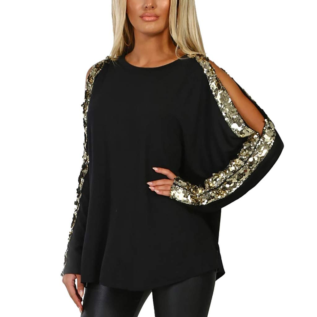 ae991efe162cf8 Amazon.com  HULKAY Womens Cold Shoulder Sequin T-Shirt Ladies Cutout Long  Sleeve Glitter Tops Blouse  Clothing