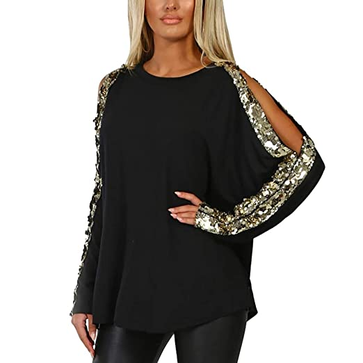 07b820ae632 Womens Casual Sequins Blouse Long Sleeve Loose Pullover Hollow Out Tunic  Tops T-