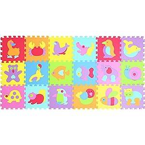 XMTMMD Puzzle Play Mat-Puzzle Pièces d'interverrouillage Promouvoir Le développement Sensoriel Visuel-Soft Baby Mat Sol-18 Tuiles Mousse Eva Mat AMP014019G300918 3